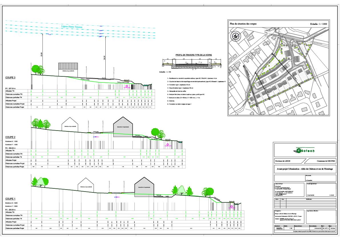 Avant-projet d'urbanisation d'un terrain à Neupré vues en coupes