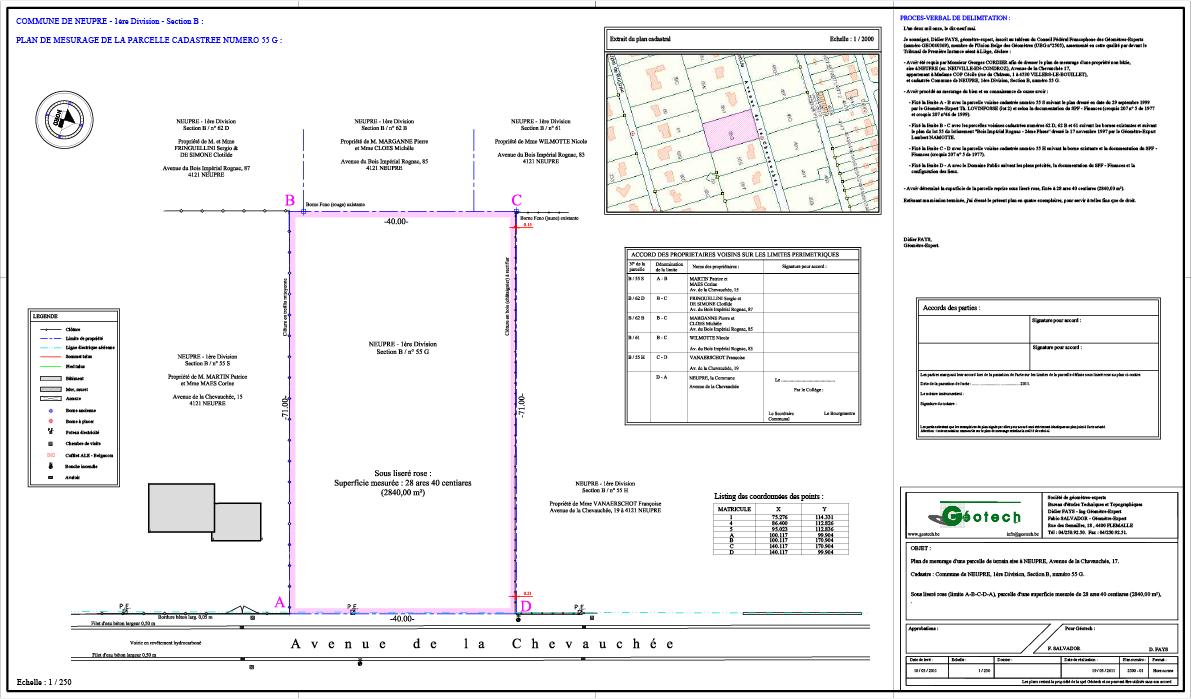 Plan de mesurage d'une parcelle située à Neupré