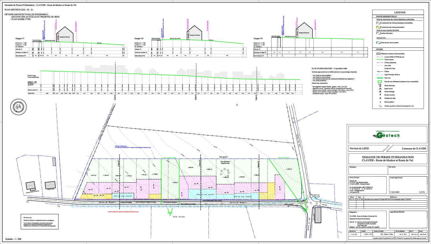 Plan des options architecturales d'ensemble d'un projet d'urbanisation à Clavier