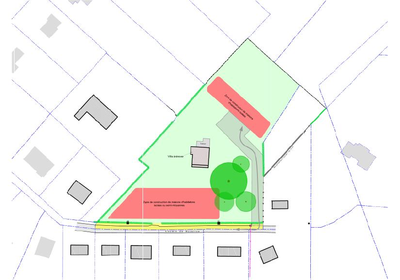 Plan des options d'aménagement d'un projet d'urbanisation à Heusy
