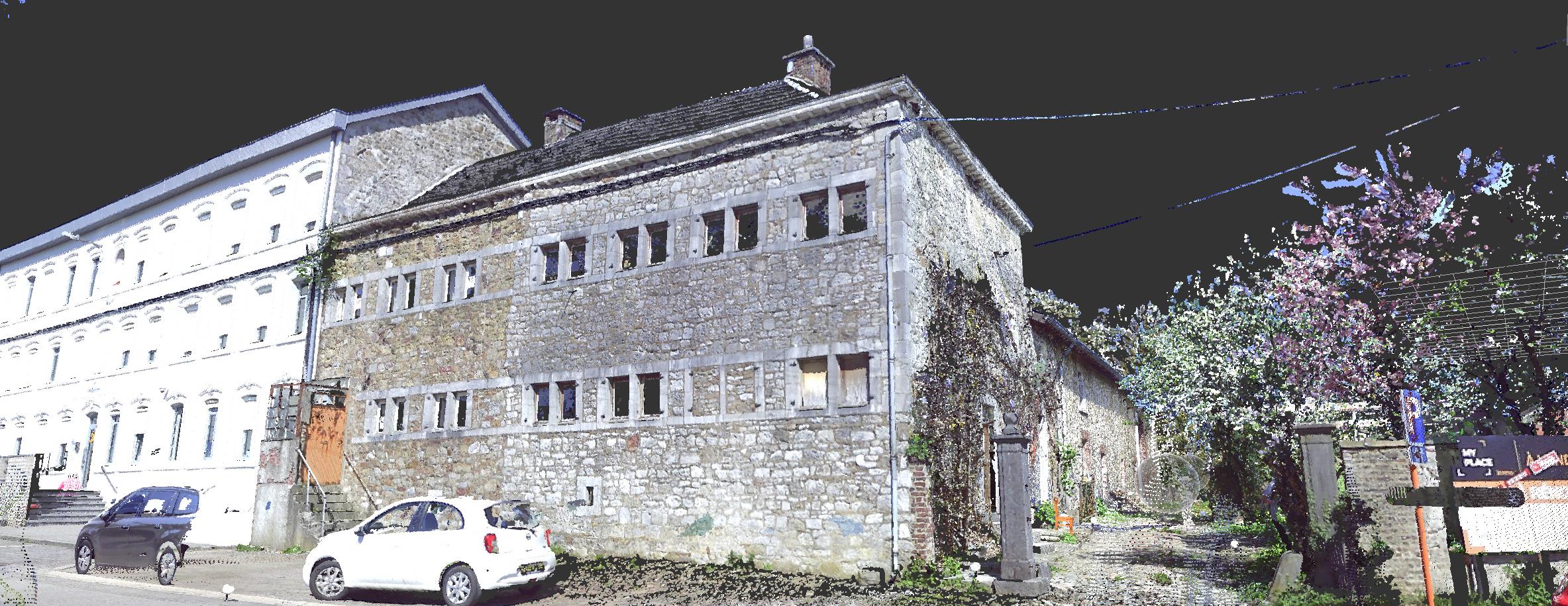 Nuage de points rassemblé pour obtenir les facades d'un bâtiment