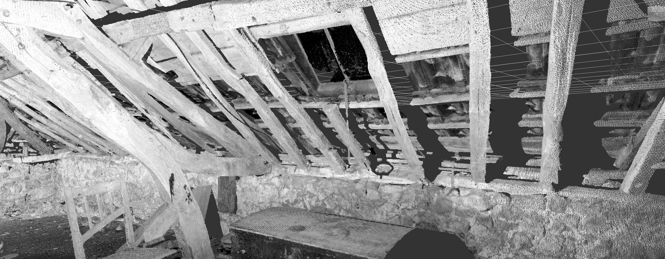 Nuage de points des charpentes d'une vieille ferme